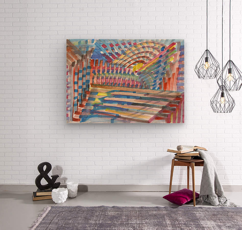 Watercolor geometric abstraction  Wood print