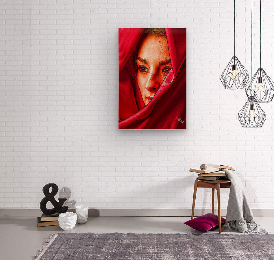 Bianca in red  Wood print