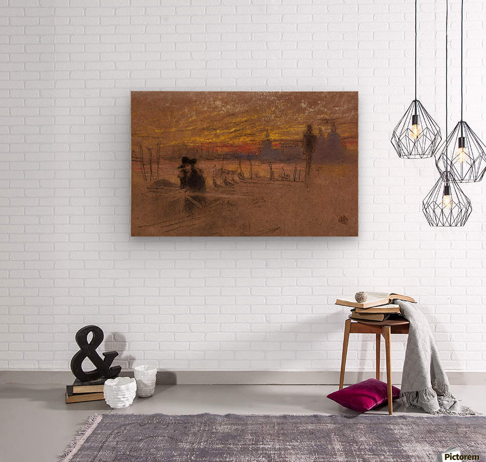 Sunset Red and Gold by Whistler  Wood print
