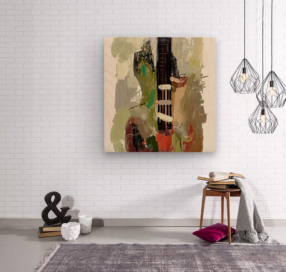 abstract guitar painting   Wood print