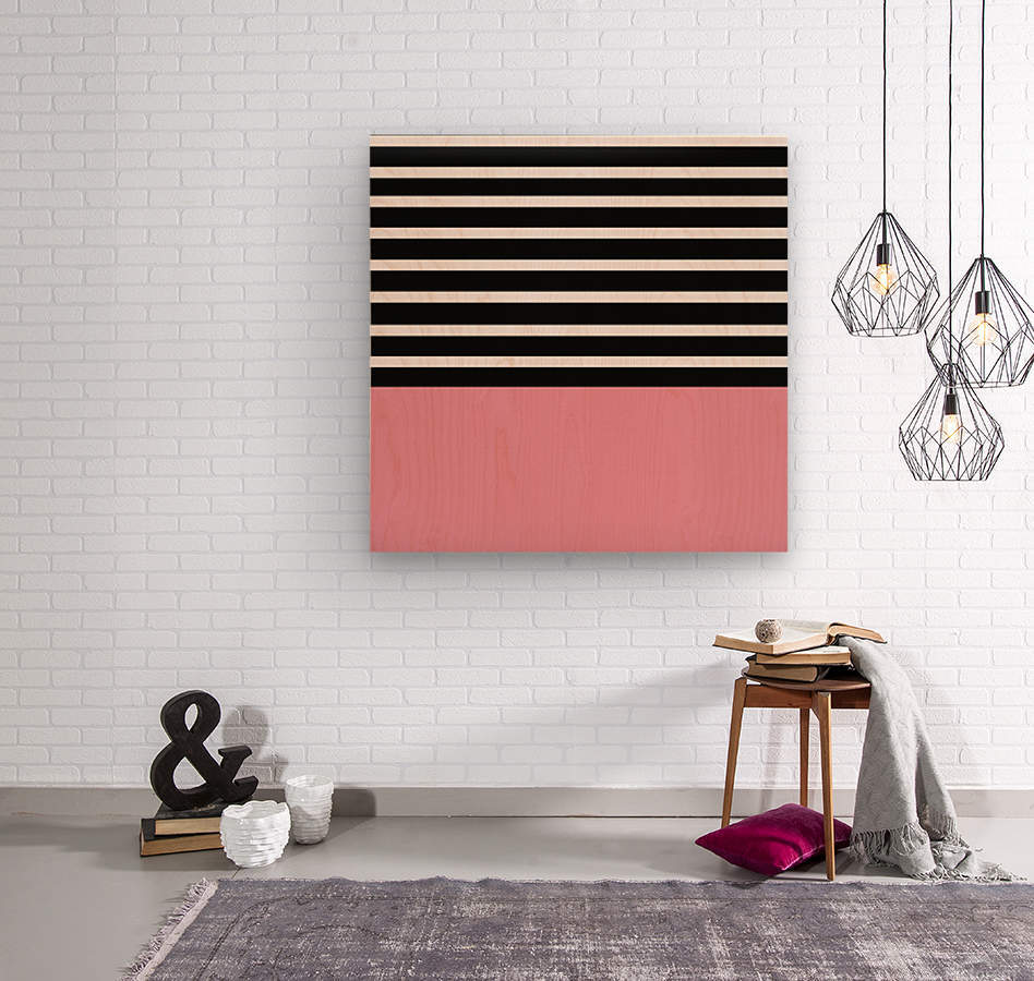 Black & White Stripes with Cherry Patch  Wood print