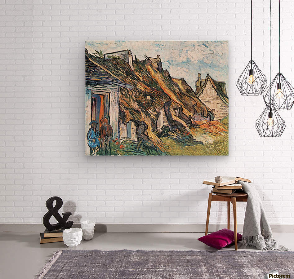 Thatched hut in Chaponval by Van Gogh  Wood print