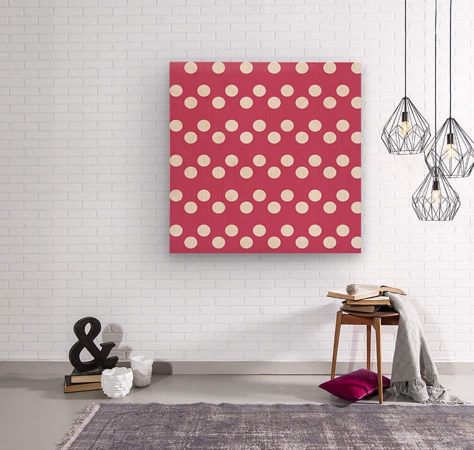 CRANBERRY Polka Dots  Wood print