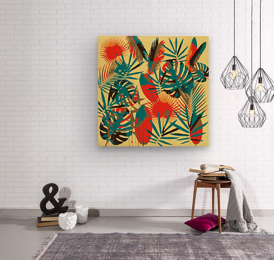 Colorful Abstract Tropical Leaves   Wood print