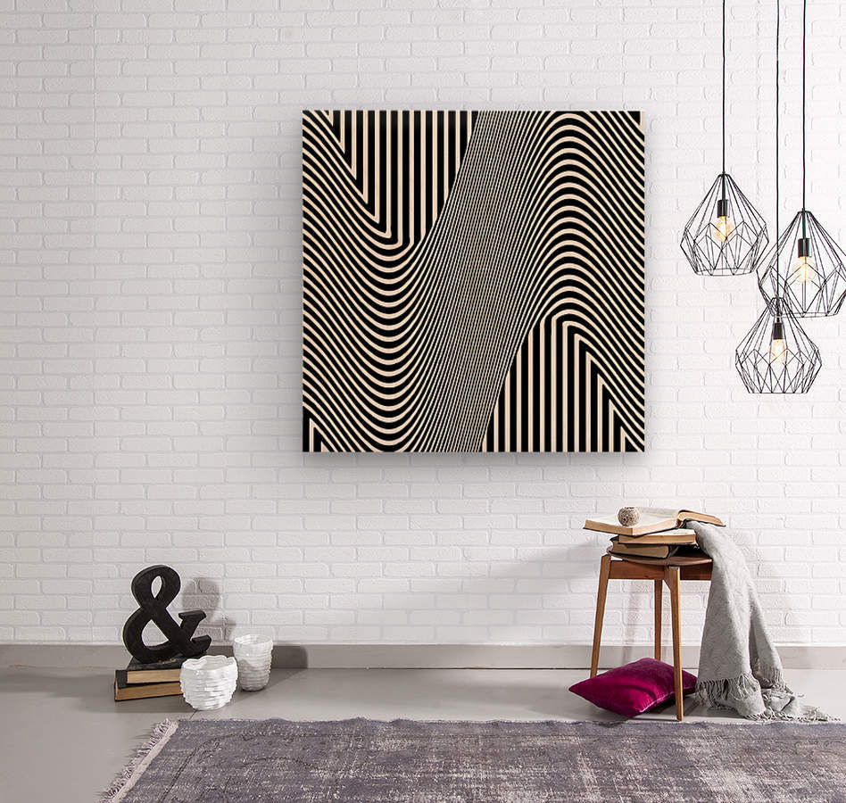 Black and White Abstract Geometric Design 1  Wood print