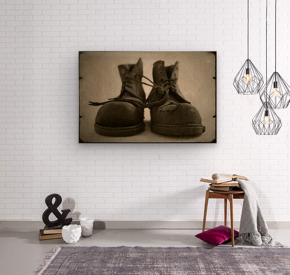 OLD BOOTS  Wood print