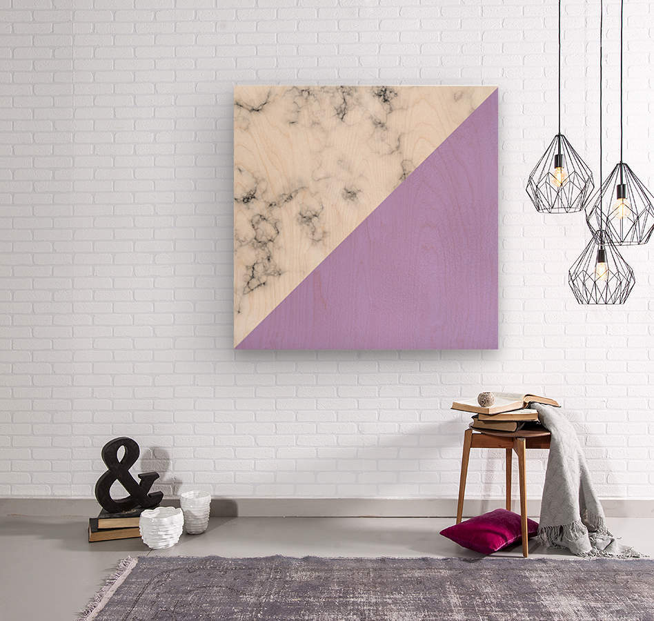 ABSTRACT MODERN PURPLE GLASS MARBLE  Wood print