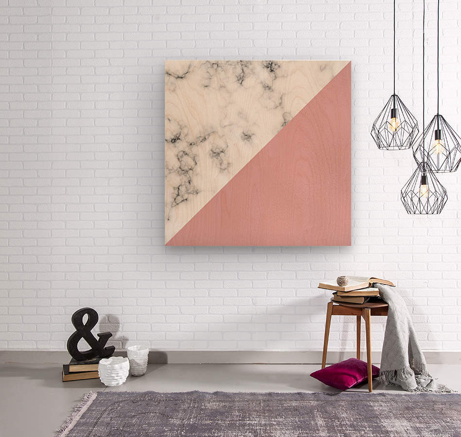 ABSTRACT MODERN ROSE GLASS MARBLE  Wood print