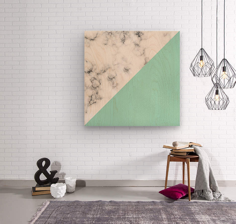 ABSTRACT MODERN TURQUOISE GLASS MARBLE  Wood print