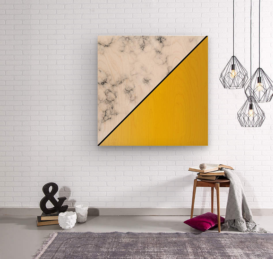 ABSTRACT MODERN YELLOW MARBLE  Wood print