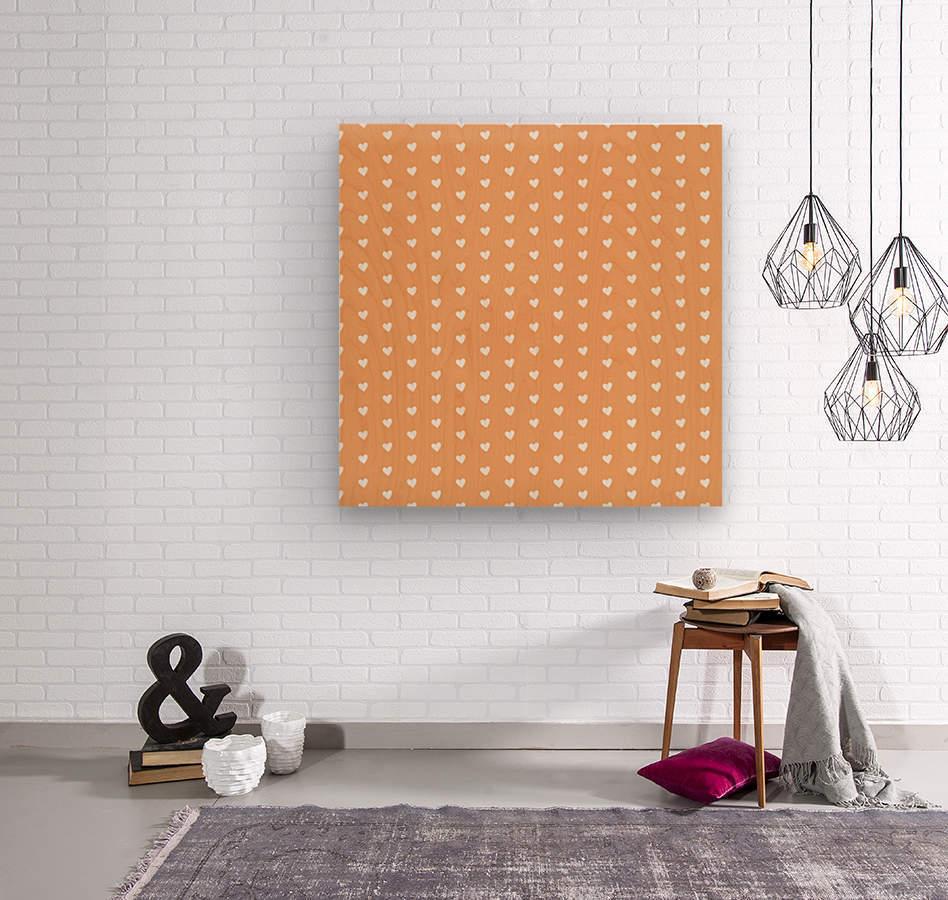 Sandy Brown Heart Shape Pattern  Wood print