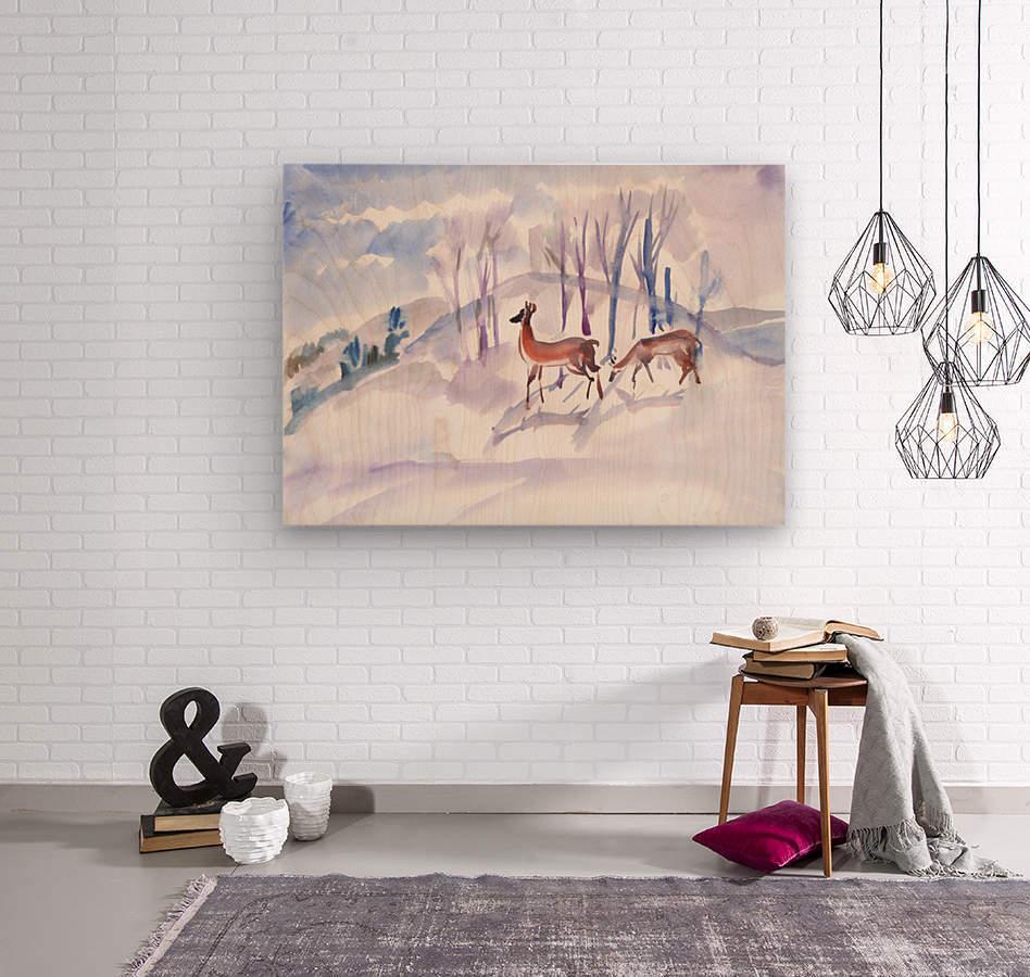 Roe Deers  Wood print