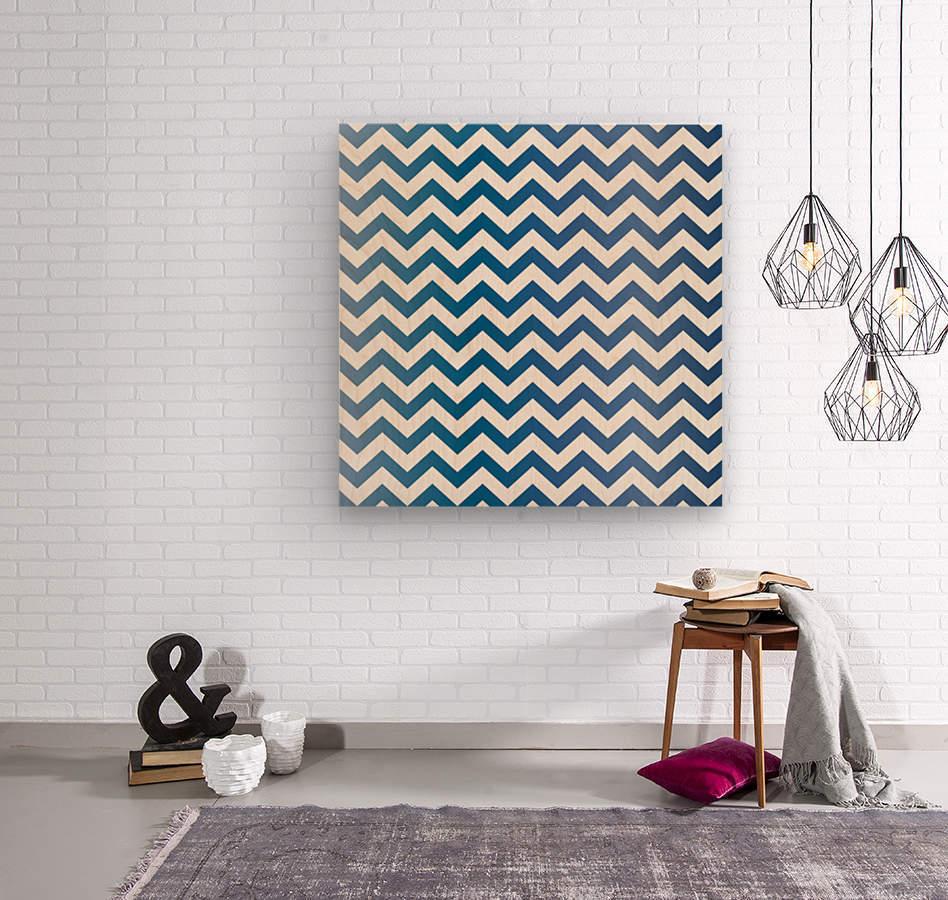 BLUEBERRY CHEVRON  Wood print