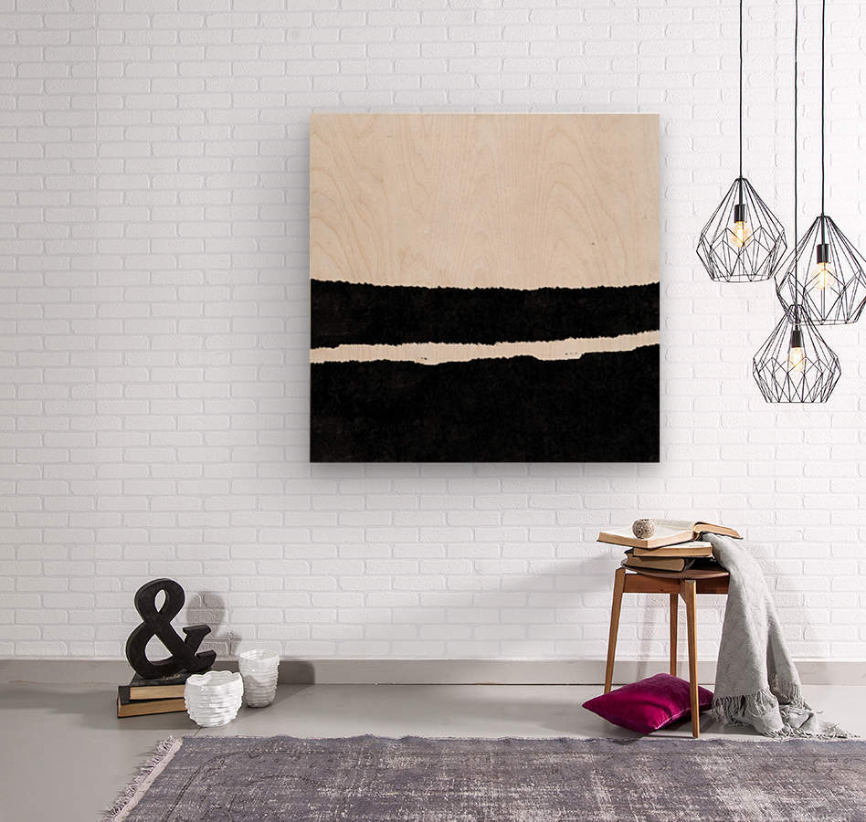 Black White Minimal Abstract Painting Nr.102  Wood print