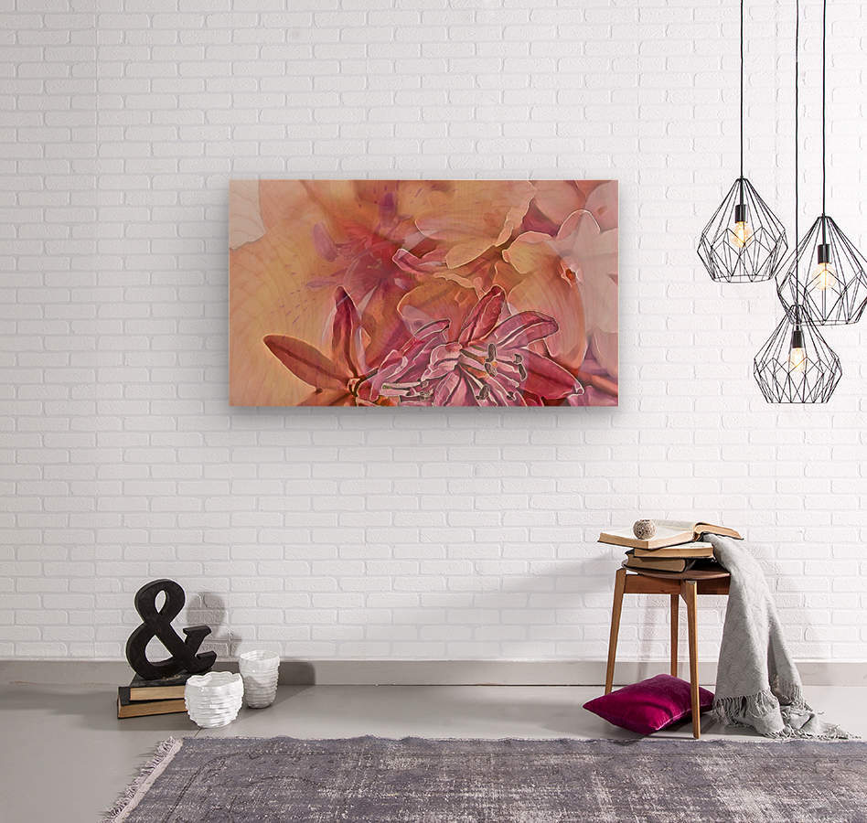 Pink iced flower  Wood print