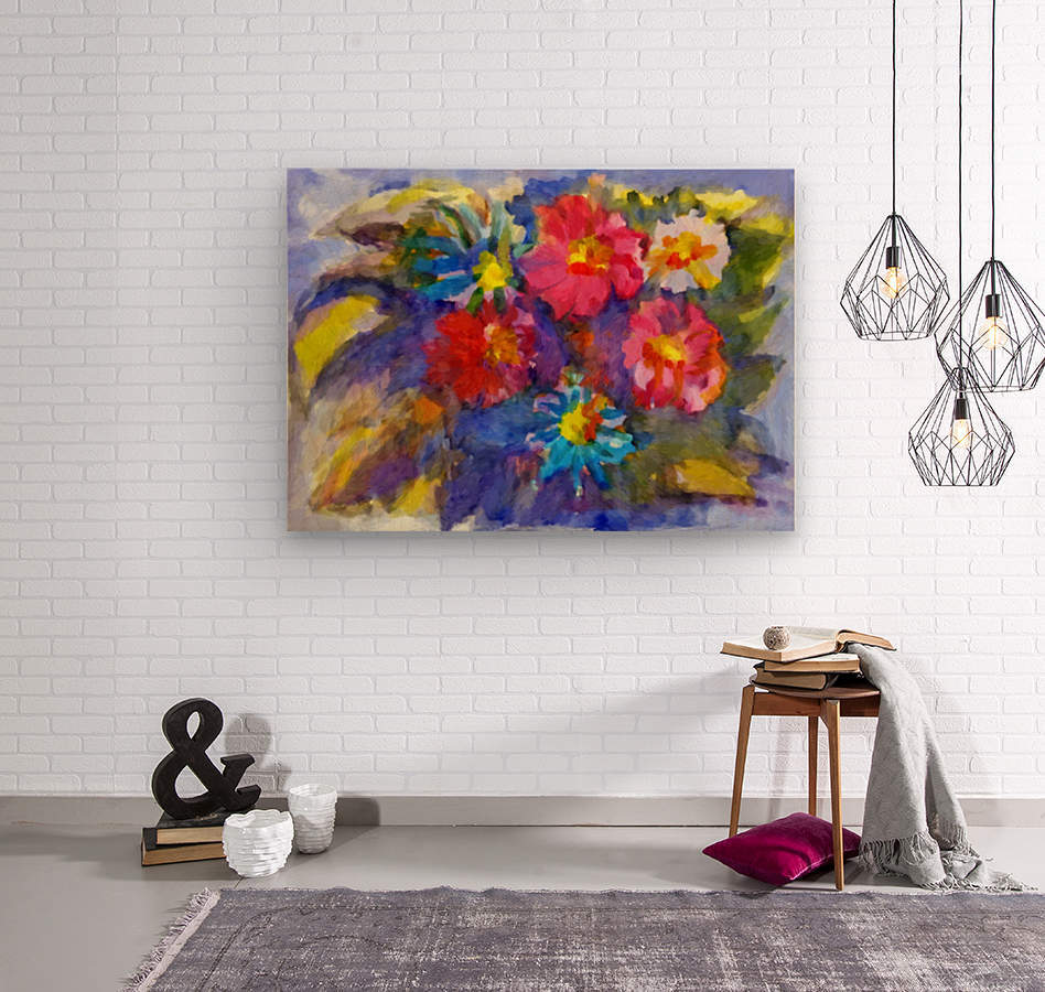 Vivid flowers in the garden   Wood print