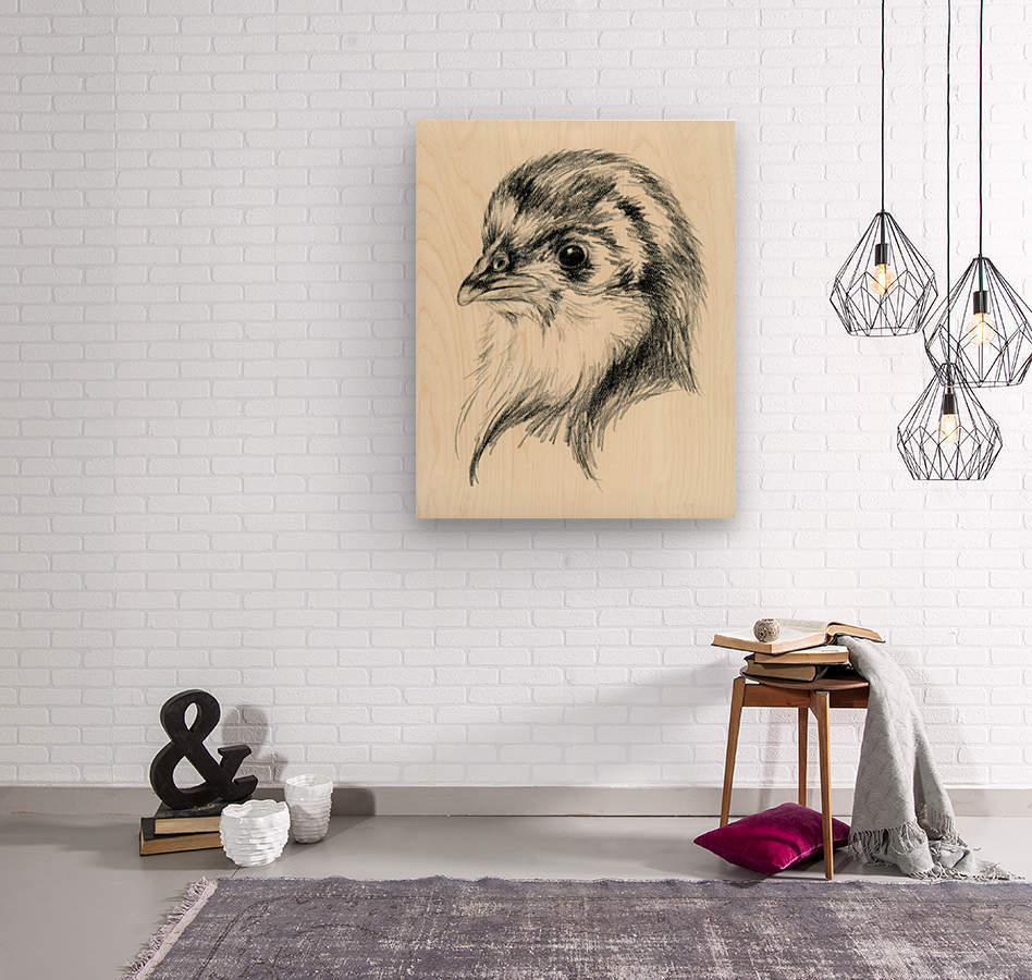 Black Australorp Chic in Charcoal  Wood print