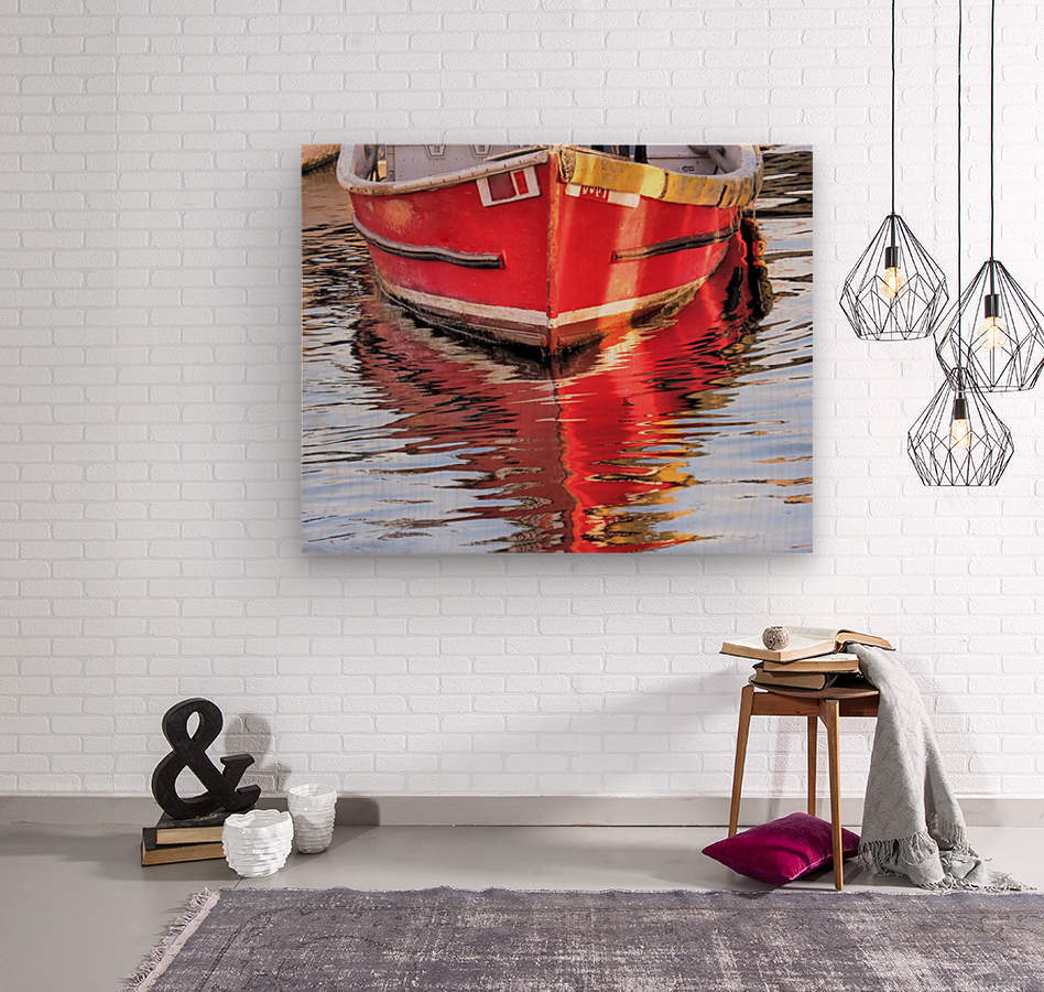 Red skiff reflections  Wood print