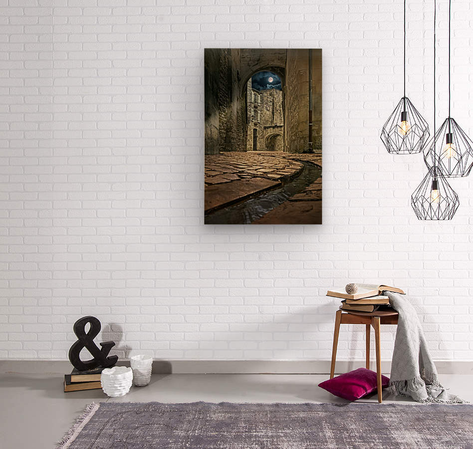Moon over St. Remy  Wood print
