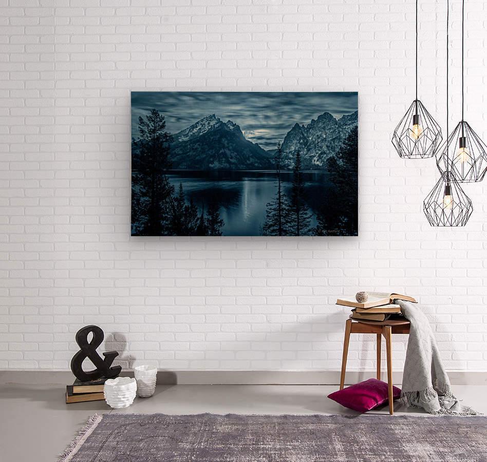 Moon over Jenny Lake  Wood print