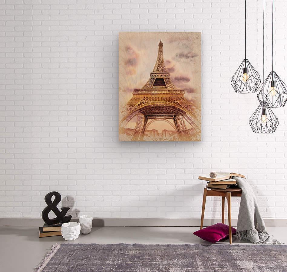 Vintage Paris Eiffel Tower Watercolor Painting  Wood print