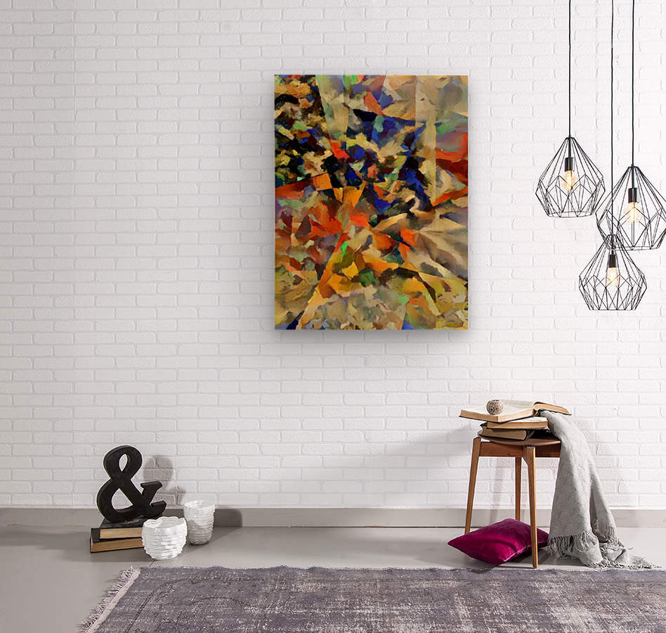 Abstract Painting with Geometric Figures  Wood print