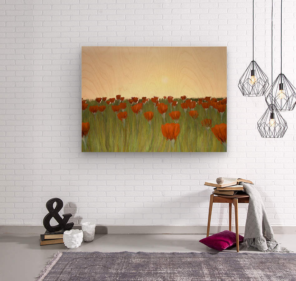 RED POPPIES at Sunset  Wood print