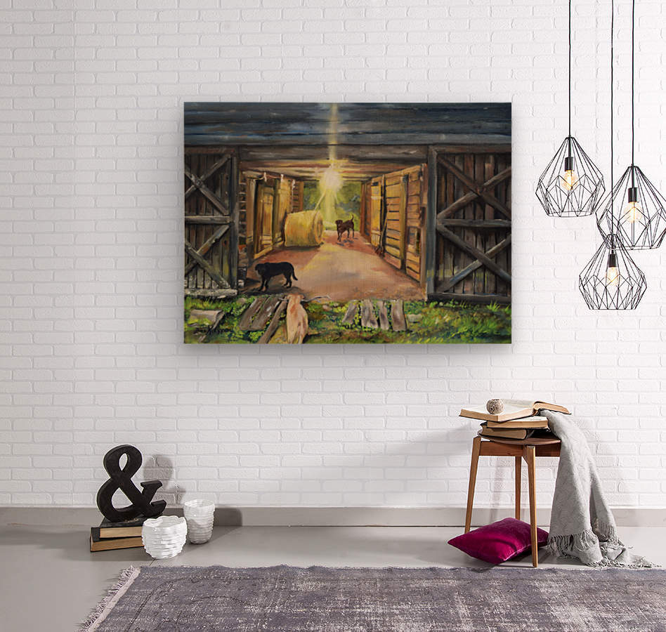 After Hours in Pas Barn LS  Wood print