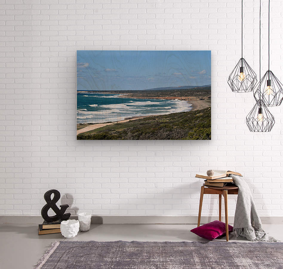 Seashore with waves and blue sky - Cyprus  Wood print