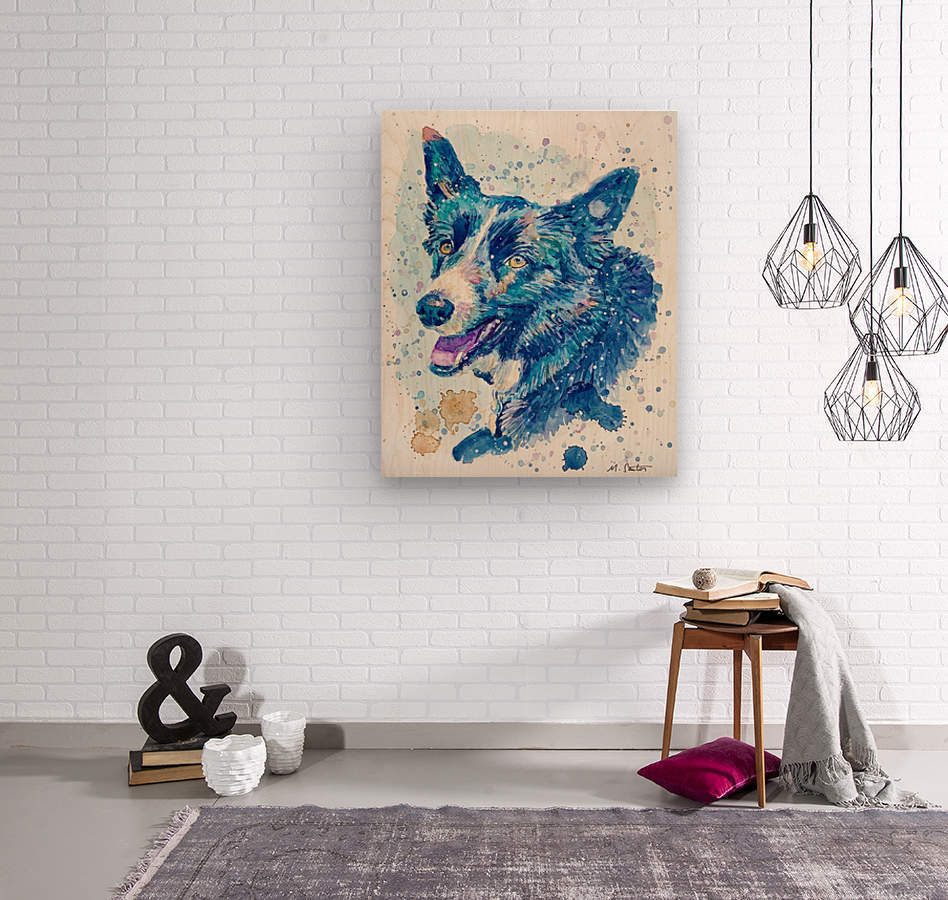 Border Collie Dog - Portrait of Habbey  Wood print