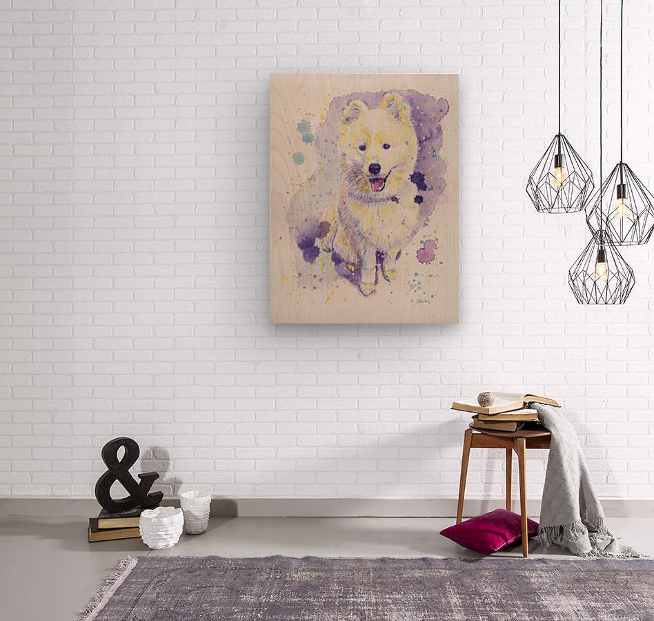 Samoyed Dog - Portrait of Juno  Wood print
