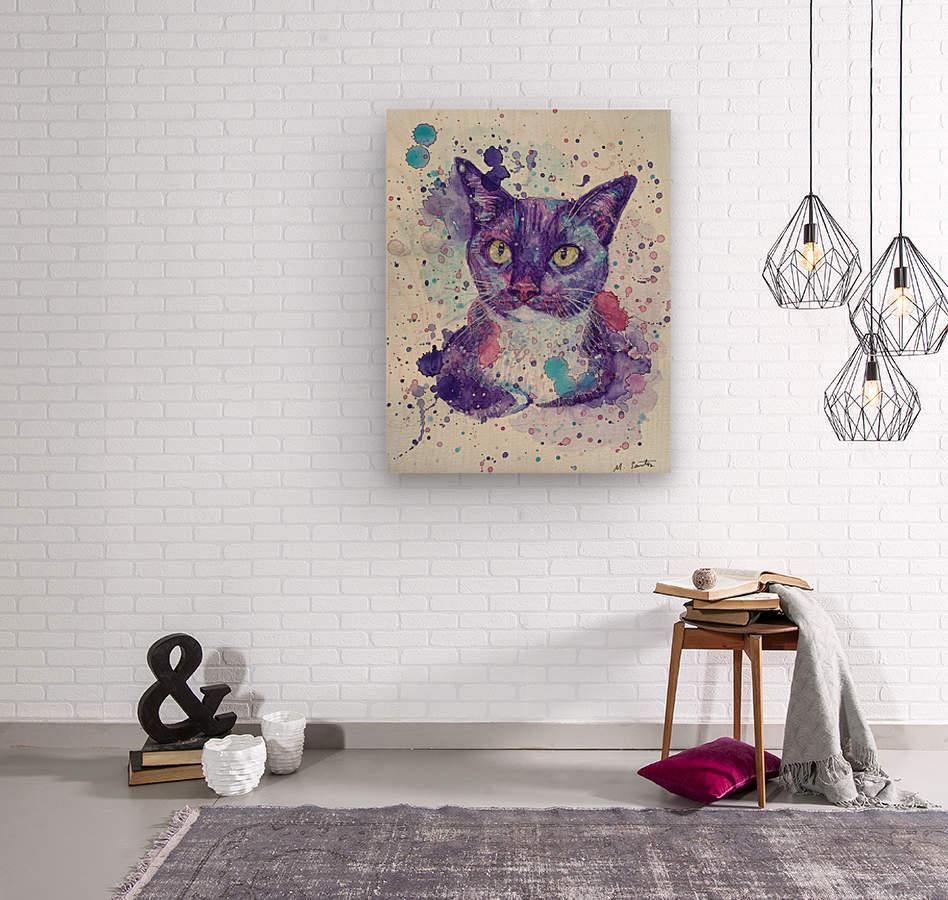 Tuxedo Cat - Portrait of Flash  Wood print