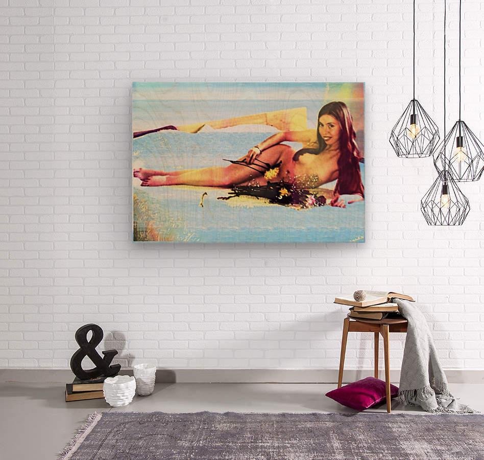 a mermaid in her home  Wood print