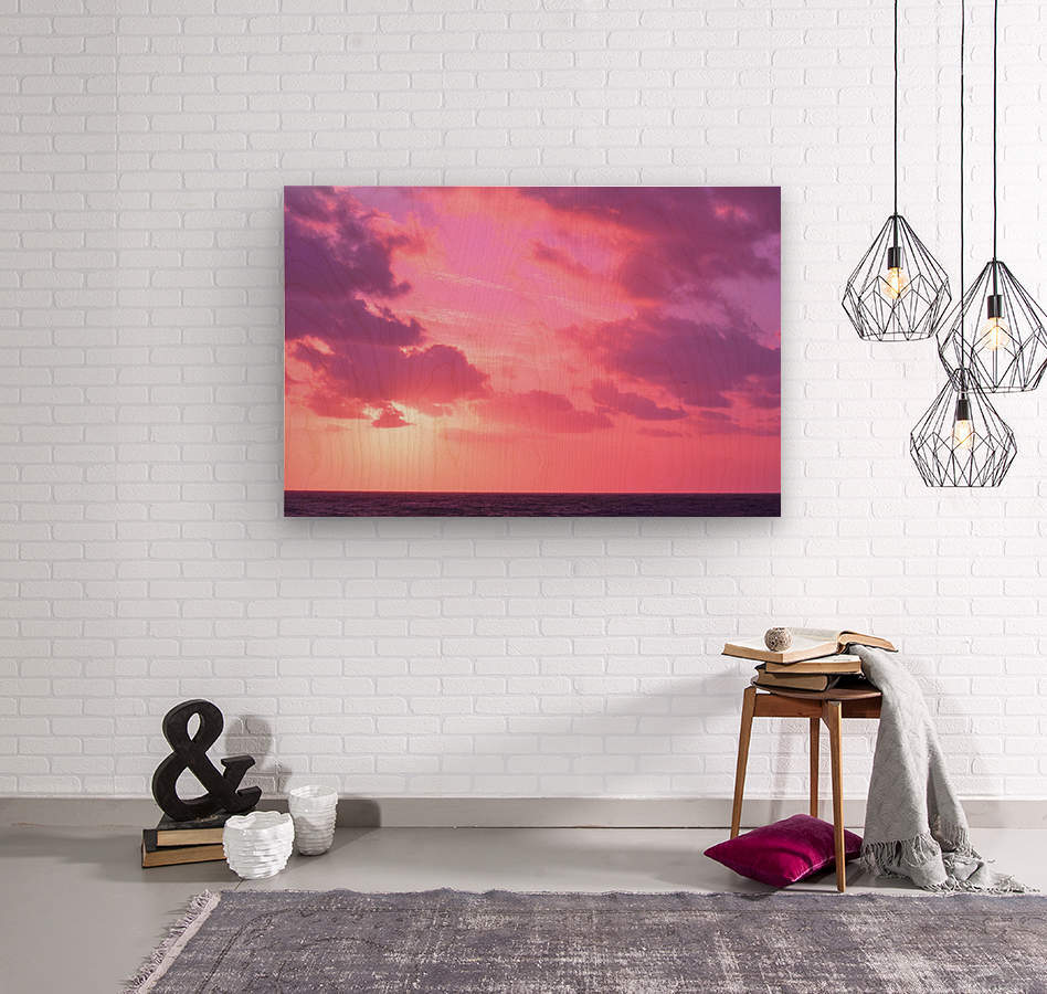 Sunset over the Sea - Shades of Pink  Wood print