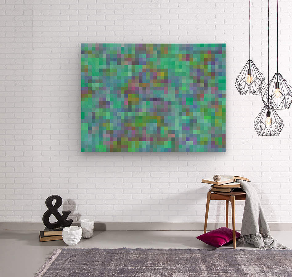 geometric square pixel pattern abstract in green blue pink  Wood print