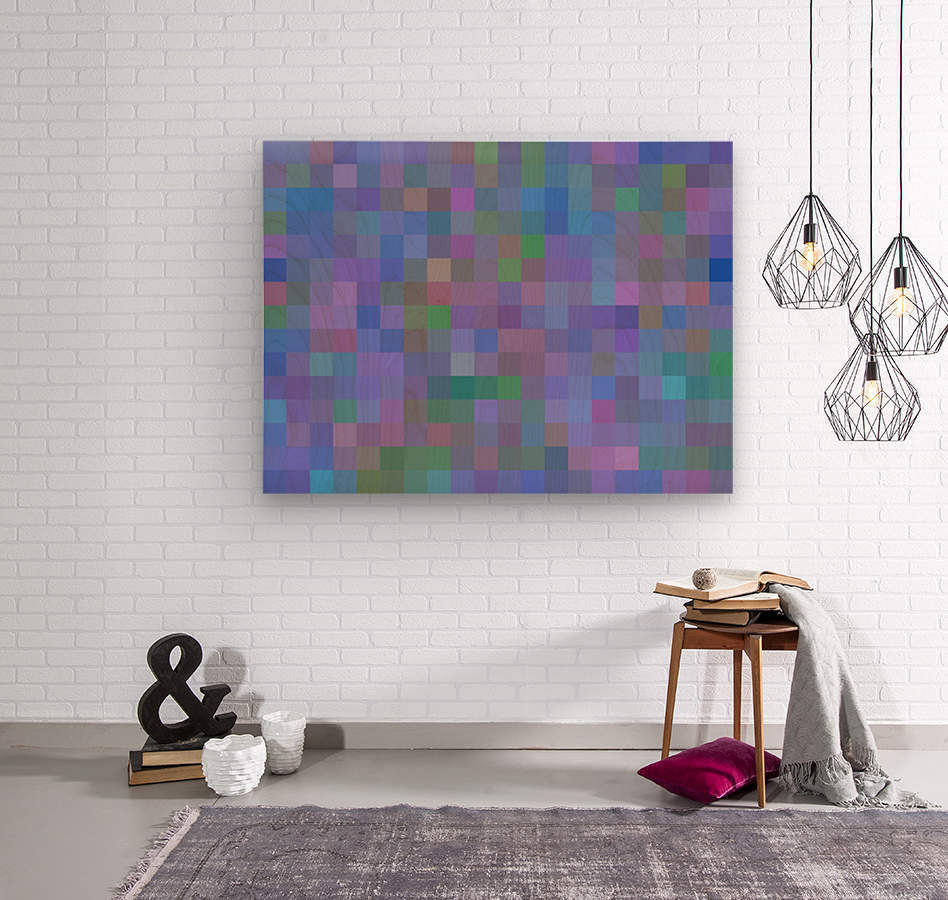 geometric square pixel pattern abstract in purple blue pink  Wood print