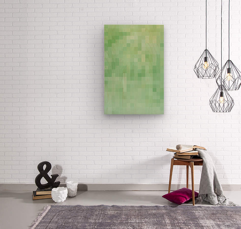 Abstract Pixel Picture - Green shades   Wood print