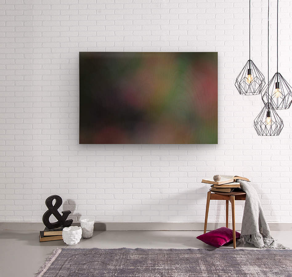 Abstract Art Photograph Bokeh - Red White Yellow and Green  Wood print