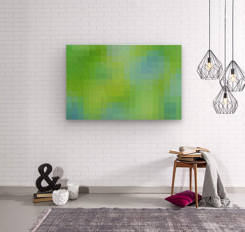 Abstract Pixel Art - blue and green 2  Wood print