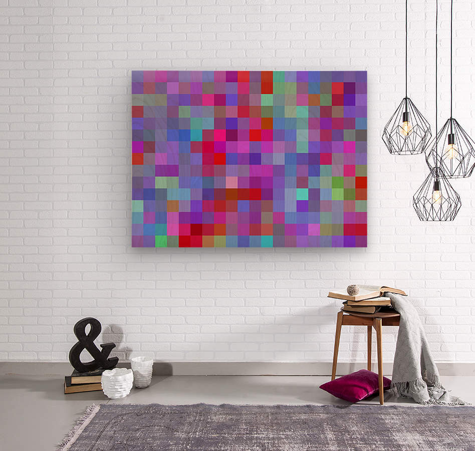 geometric square pixel pattern abstract background in pink blue purple  Wood print