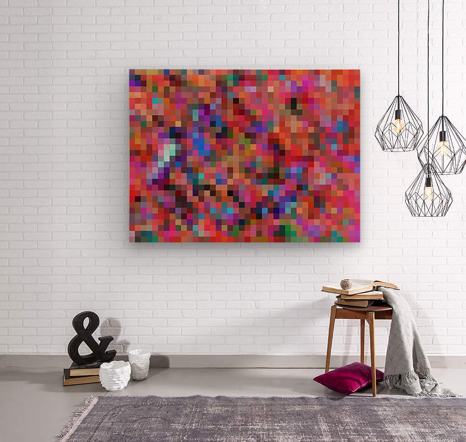 geometric square pixel pattern abstract background in pink blue orange purple  Wood print
