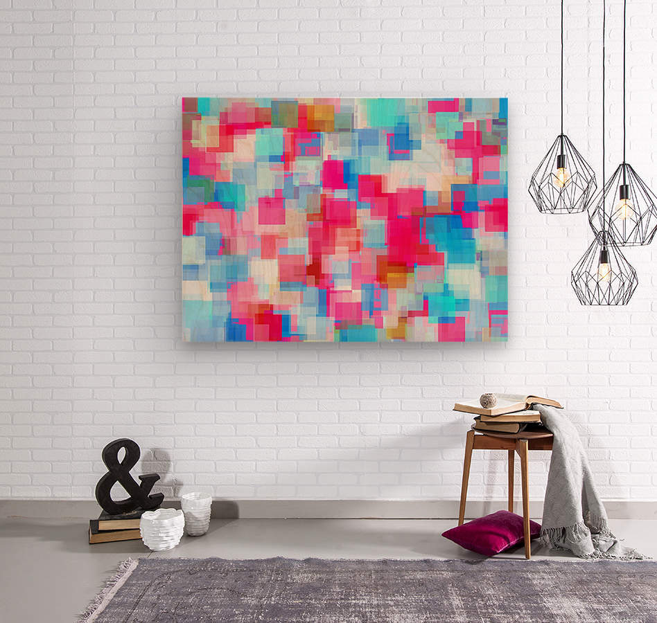 geometric square pattern abstract background in pink and blue  Wood print