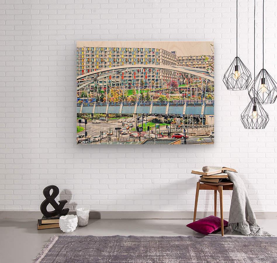 Park Square Bridge Sheffield  Wood print