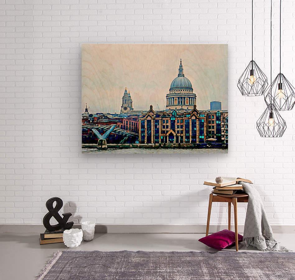 Millennium Bridge to St Pauls Cathedral London  Wood print