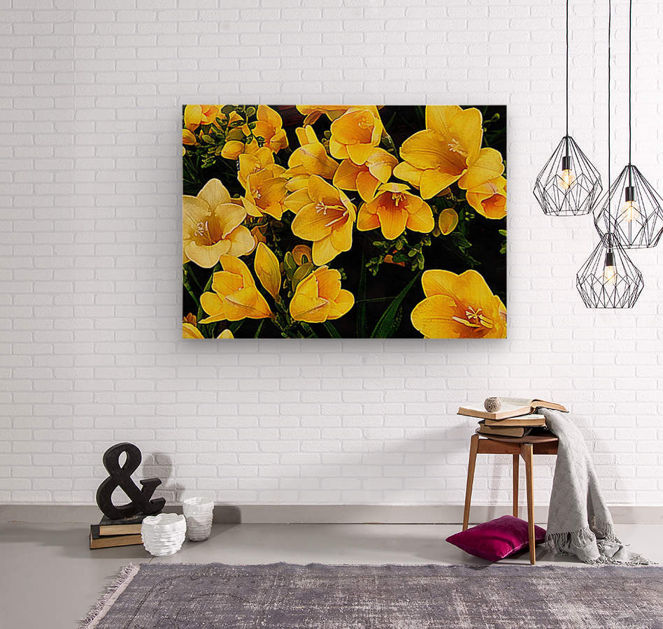 Yellow Freesias  Wood print
