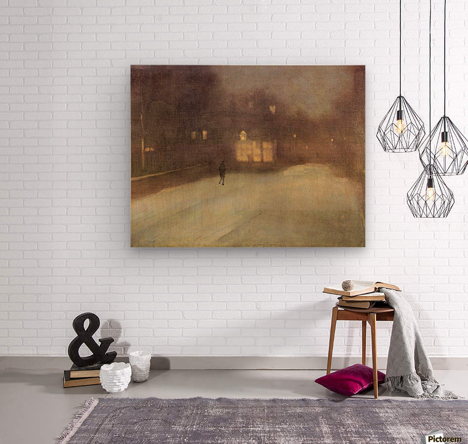 Nocturne in gray and gold, snow in Chelsea by James Abbot McNeill Whistler  Wood print