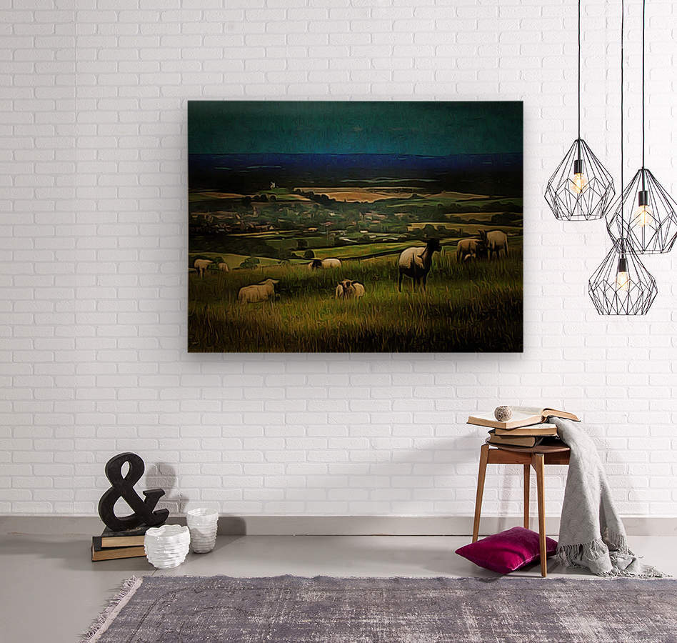 South Downs View  Wood print