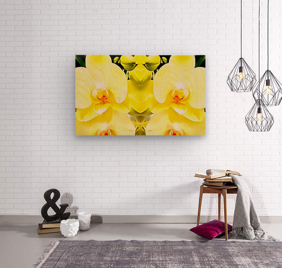 Yellow Orchid Pattern  Wood print