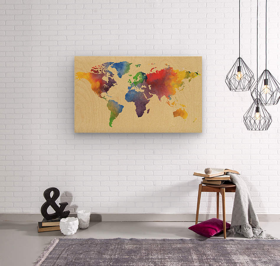 Hot And Vivid Watercolor Map Of The World  Wood print