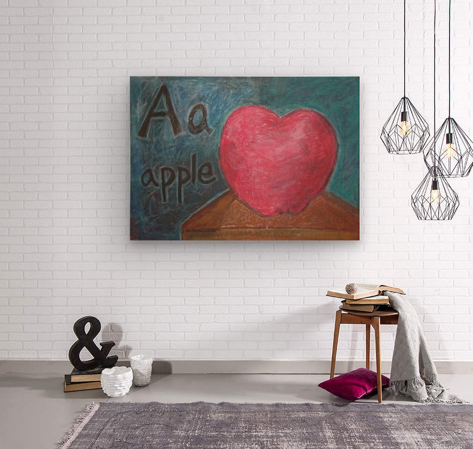 A is for Apple  Wood print
